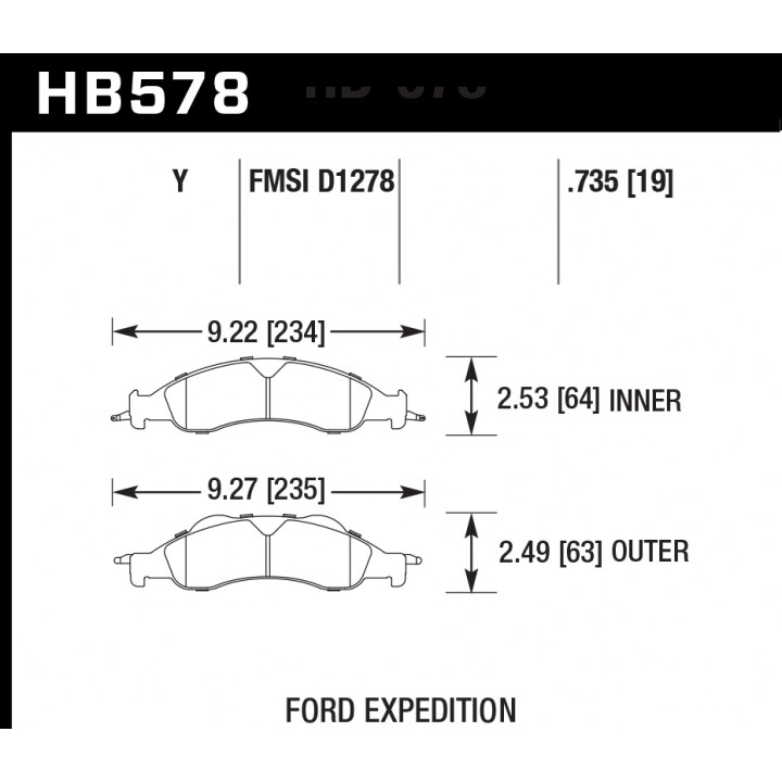 Hawk Performance HB578Y.735 Disc Brake Pad LTS w/0.735 Thickness Front
