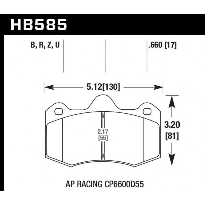 Hawk Performance HB585U.660 Disc Brake Pad DTC-70 w/0.660 Thickness Front or Rear