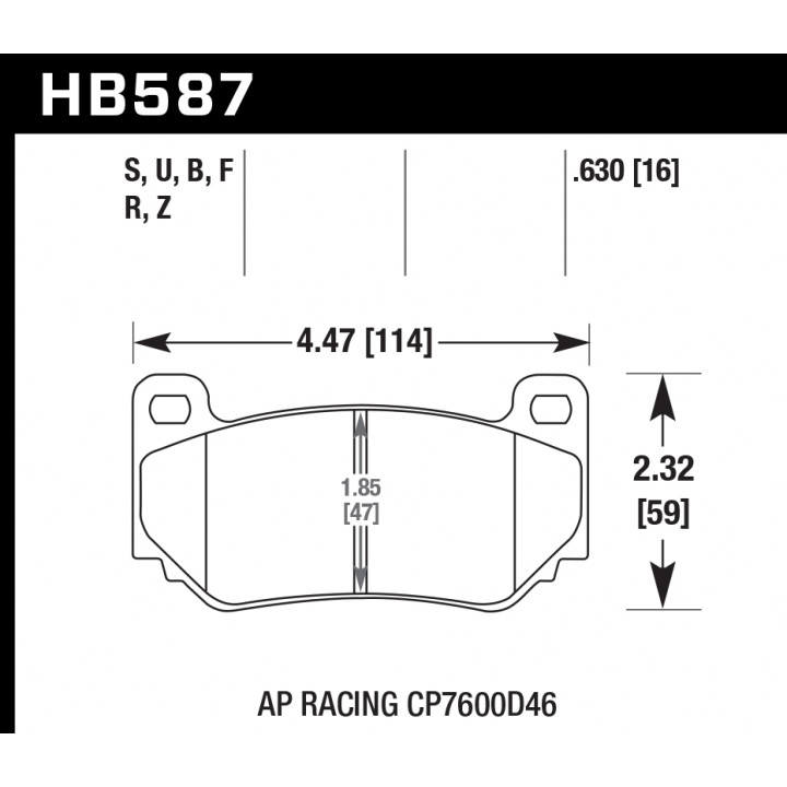 Hawk Performance HB587S.630 Disc Brake Pad HT-10 w/0.630 Thickness Front or Rear