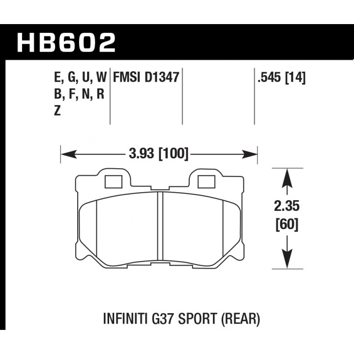 Hawk Performance HB602W.545 Disc Brake Pad DTC-30 w/0.545 Thickness Rear
