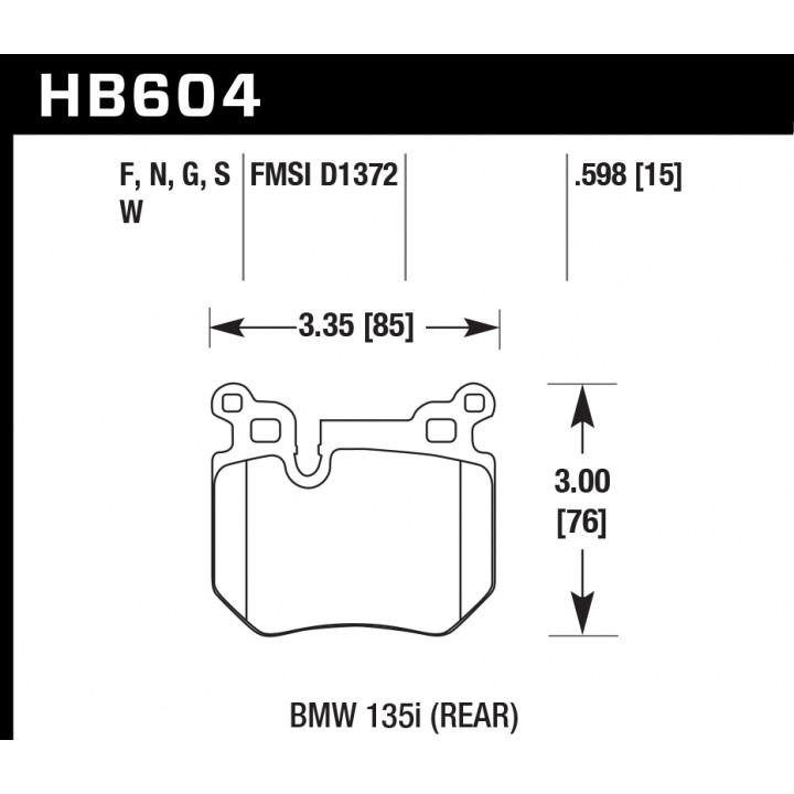 Hawk Performance HB604G.598 Disc Brake Pad DTC-60 w/0.598 Thickness Rear