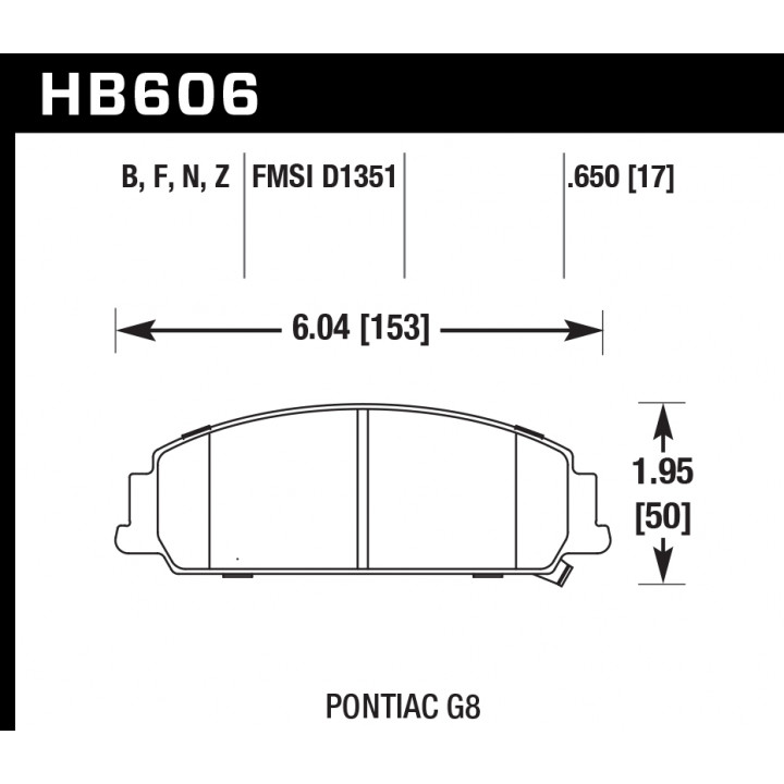 Hawk Performance HB606N.650 Disc Brake Pad HP Plus w/0.650 Thickness Front