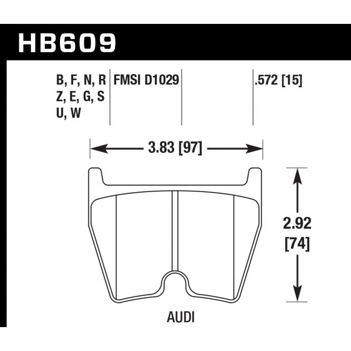 Hawk Performance HB609S.572 Disc Brake Pad HT-10 w/0.572 Thickness w/o Wear Sensor Notch Front