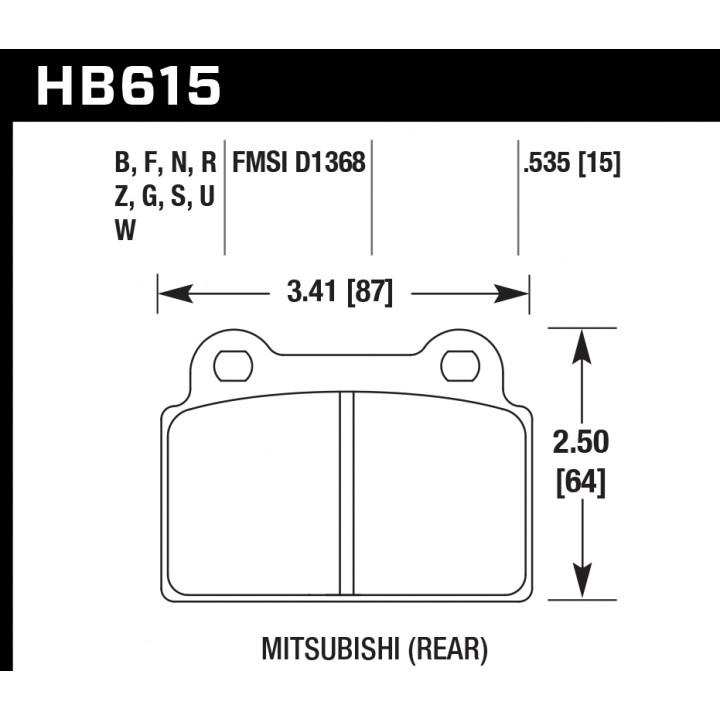 Hawk Performance HB615Z.535 Disc Brake Pad Performance Ceramic w/0.535 Thickness Rear