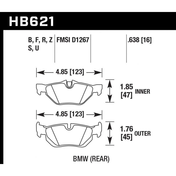 Hawk Performance HB621U.638 Disc Brake Pad DTC-70 w/0.638 Thickness Rear