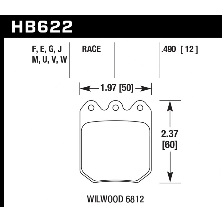 Hawk Performance HB622M.490 Disc Brake Pad Black w/0.490 Thickness Front or Rear