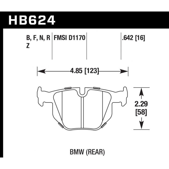 Hawk Performance HB624F.642 Disc Brake Pad HPS Performance Street w/0.642 Thickness Rear