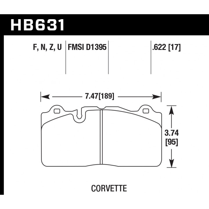 Hawk Performance HB631Z.622 Disc Brake Pad Performance Ceramic w/0.622 Thickness Front