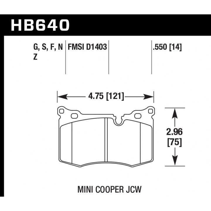 Hawk Performance HB640F.550 Disc Brake Pad HPS Performance Street w/0.550 Thickness Front