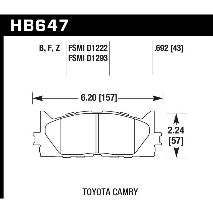 Hawk Performance HB647F.692 Disc Brake Pad HPS Performance Street w/0.692 Thickness Front