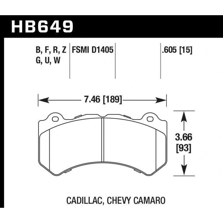 Hawk Performance HB649W.605 Disc Brake Pad DTC-30 w/0.605 Thickness Front
