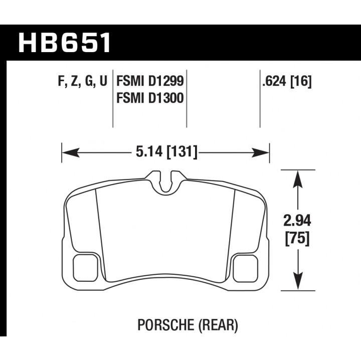 Hawk Performance HB651F.624 Disc Brake Pad HPS Performance Street w/0.624 Thickness Rear
