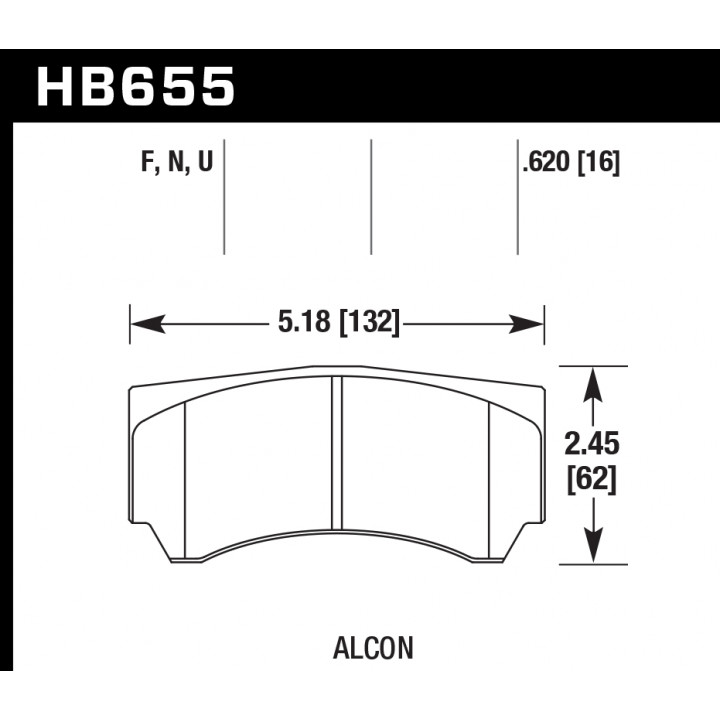 Hawk Performance HB655N.620 Disc Brake Pad HP Plus w/0.620 Thickness Front or Rear