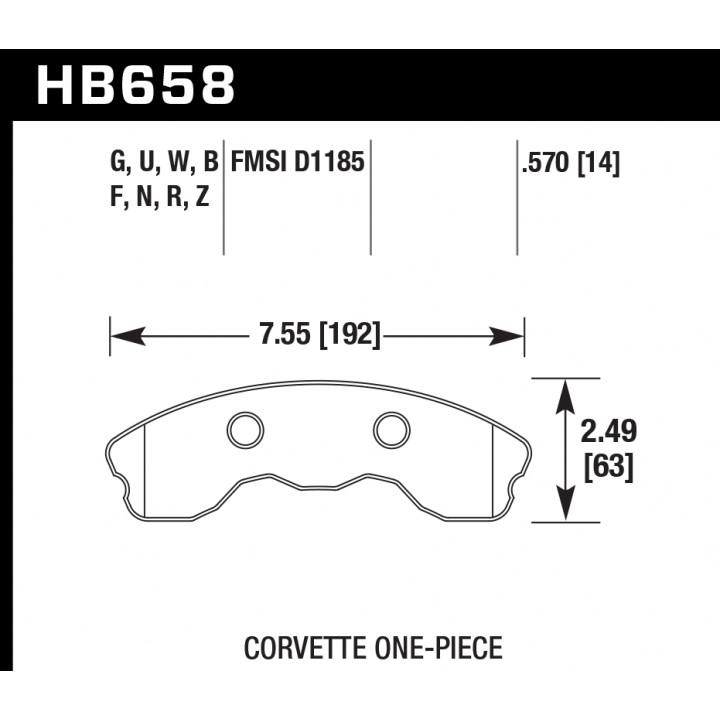 Hawk Performance HB658U.570 Disc Brake Pad DTC-70 w/0.570 Thickness 1 pc. Pads Front