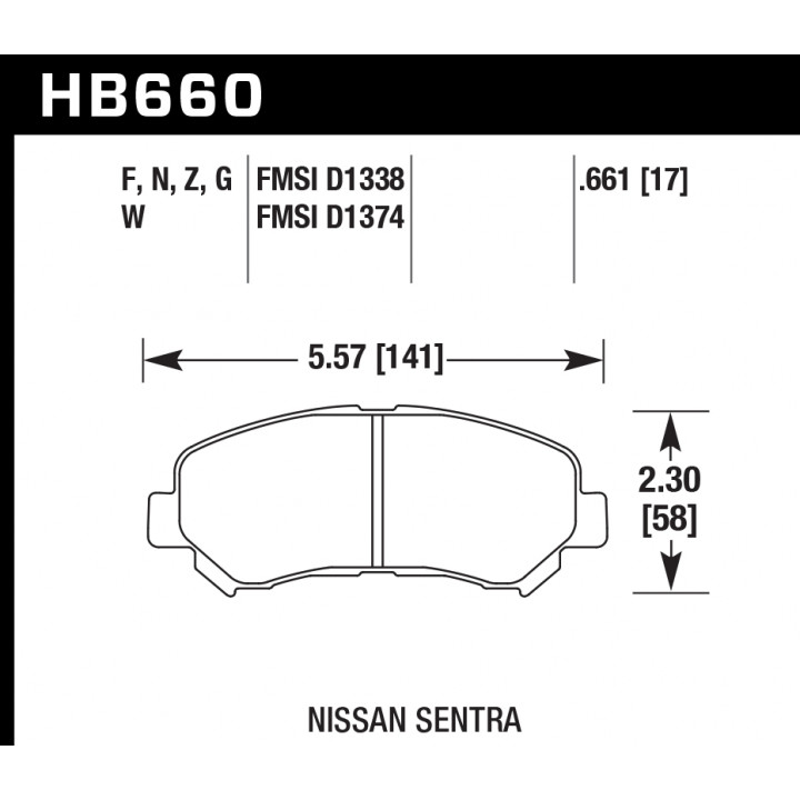 Hawk Performance HB660Z.661 Disc Brake Pad Performance Ceramic w/0.661 Thickness Front
