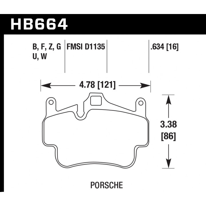 Hawk Performance HB664W.634 Disc Brake Pad DTC-30 w/0.634 Thickness Front