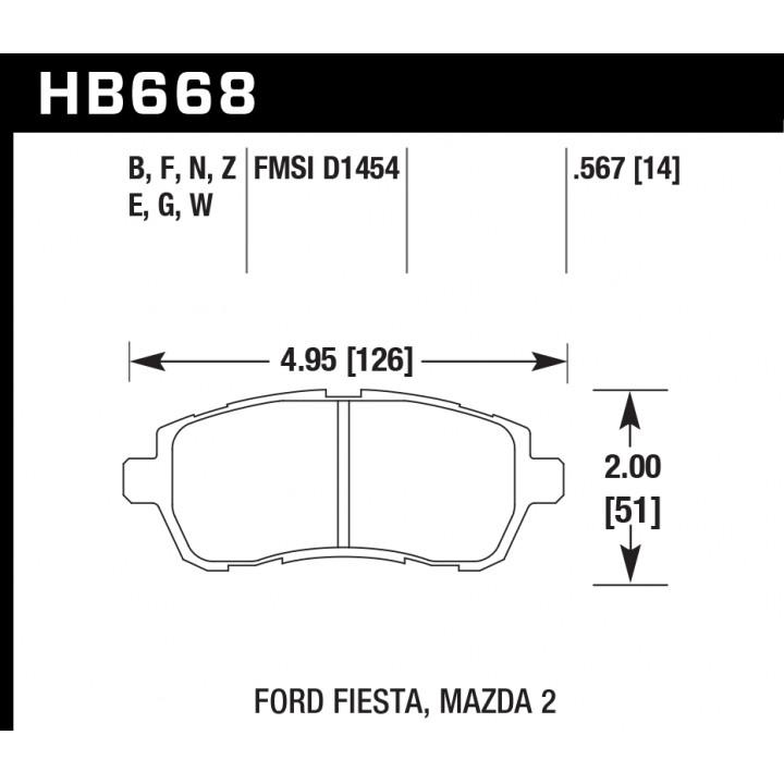 Hawk Performance HB668Z.567 Disc Brake Pad Performance Ceramic w/0.567 Thickness Front