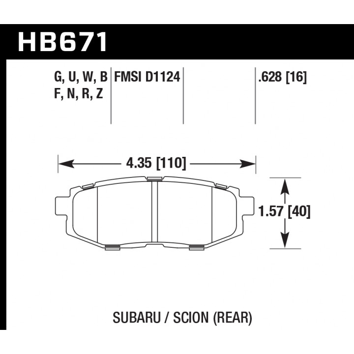 Hawk Performance HB671Z.628 Disc Brake Pad Performance Ceramic w/0.628 Thickness Rear