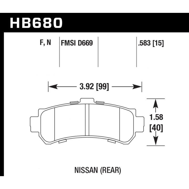 Hawk Performance HB680F.583 Disc Brake Pad HPS Performance Street w/0.583 Thickness Rear