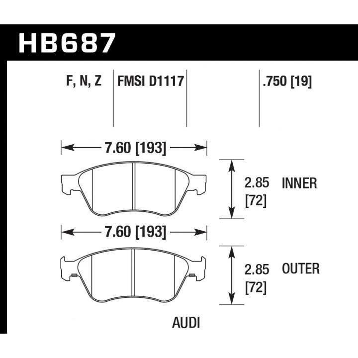 Hawk Performance HB687Z.750 Disc Brake Pad Performance Ceramic w/0.750 Thickness Front