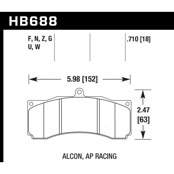 Hawk Performance HB688G.710 Disc Brake Pad DTC-60 w/0.710 Thickness Front or Rear