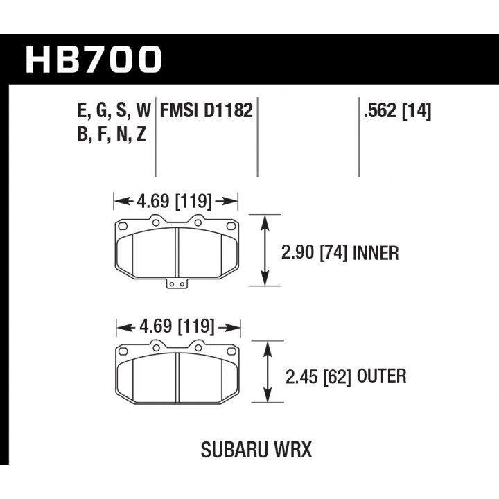 Hawk Performance HB700S.562 Disc Brake Pad HT-10 w/0.562 Thickness Front