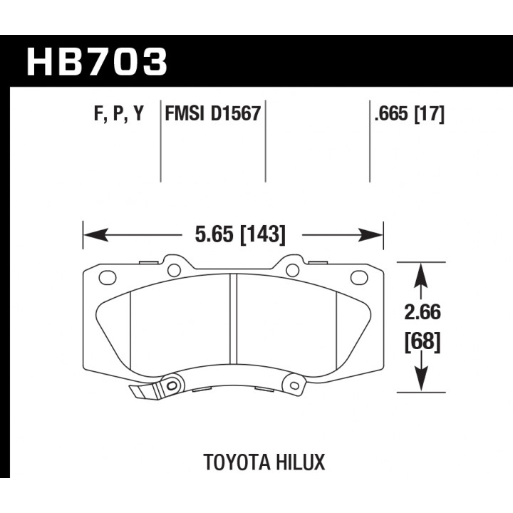 Hawk Performance HB703P.665 Disc Brake Pad SuperDuty w/0.665 Thickness Front