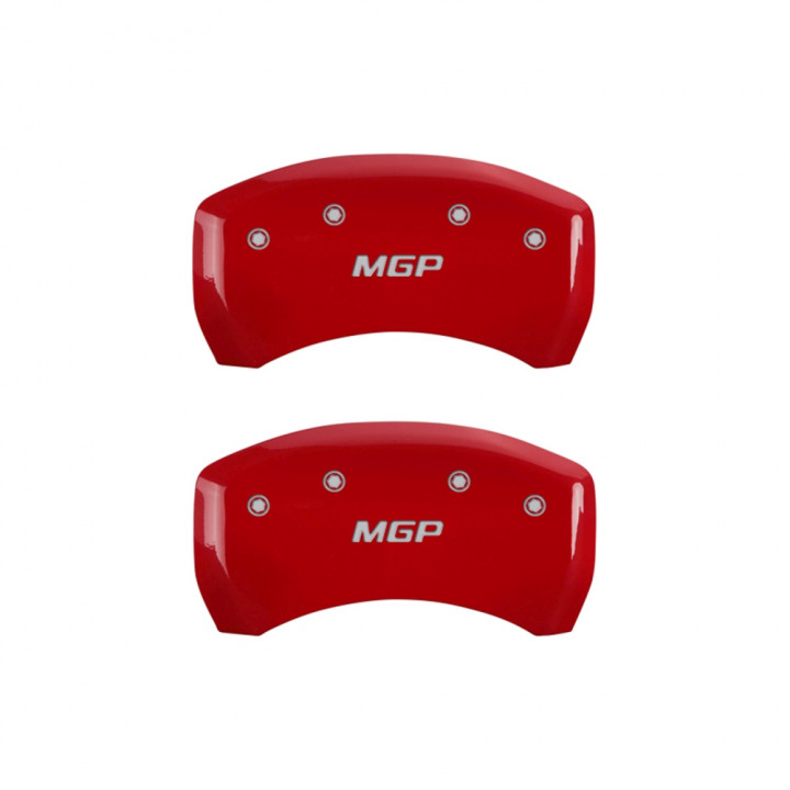 MGP Caliper Covers 10222SMGPRD - Silver Front and Rear MGP Engraved Caliper Cover - Red Powder Coat Finish (4-Set)