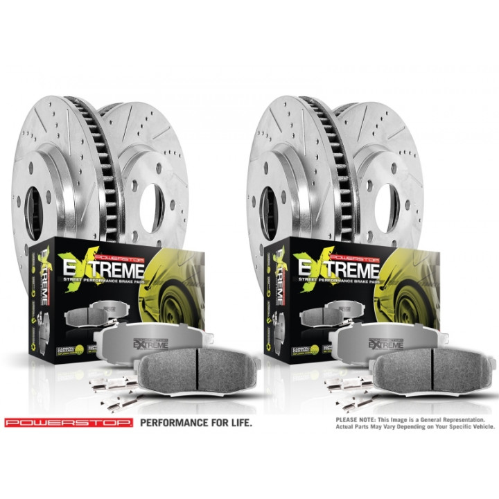 Power Stop K2896-26 - Z26 Extreme Street Warrior 1-Click Brake Kit (Front  and Rear)