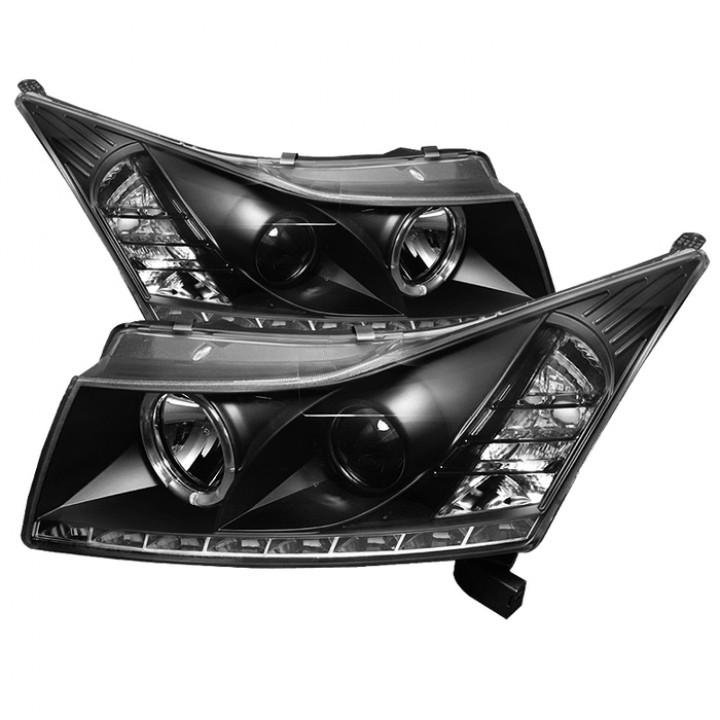 Spyder Automotive 5037916 - DRL LED Projector Headlights - Pair - Black  (Halogen Bulbs Included)